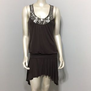Cache brown tunic top or dress with silver jewels